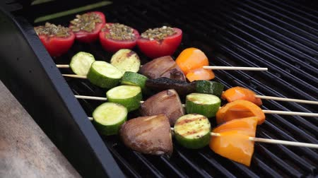 espetos : Vegetables cooking on the barbecue Stock Footage