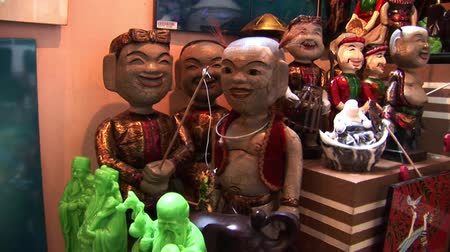 collectible : Wooden Statue Carvings in Vietnam Stock Footage