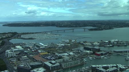 new town : Auckland City View top of sky tower Stock Footage