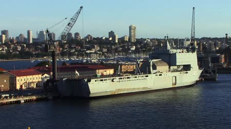 navy pier : Military Ship docked in Sydney Australia Stock Footage