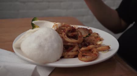 molho : Thai Asian food being eaten Stock Footage