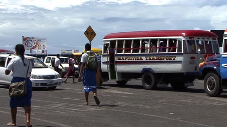 etnia africano : School Bus Kids Stock Footage
