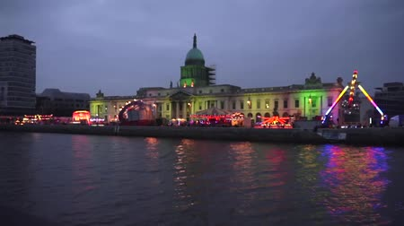 docklands : Dublin Customs House on St Patricks Day