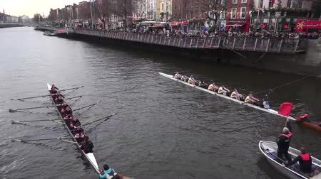 irlandês : Rowing Race in Dublin St Patricks Day Stock Footage
