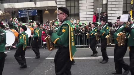 procession : St Patricks Day Parade Dublin Band Stock Footage