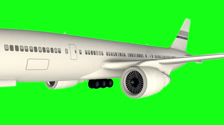 airplane engine : Airplane flying from right to left on green background. Alpha matte included.