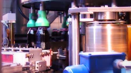 dizilirler : Automated sticking labels on bottles in a factory Stok Video