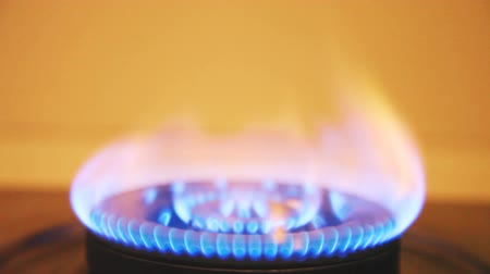 cooks : Gas fire burning. Stock Footage