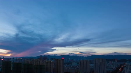 sunset city : 4k - Time lapse of cityscape at dusk,fuzhou,China.Dramatic Sky.