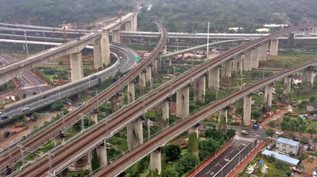 banliyö : HD time lapse - Aerial view of a complex road junction and overpass,Fuzhou,China