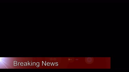 esquerda : Breaking news Lower third banner enters the screen from the left edge, holds for a few seconds with some animation then at the end of the clip moves back off the left edge of the screen.  The Lower third banner is semi transparent (75% opacity) and all of