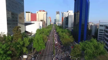 cdmx : Mexico City, Mex-CIRCA January 2017: (Aerial shot) Protesters march and shout slogans against a planned 20 percent rise in fuel prices in Reforma avenue.
