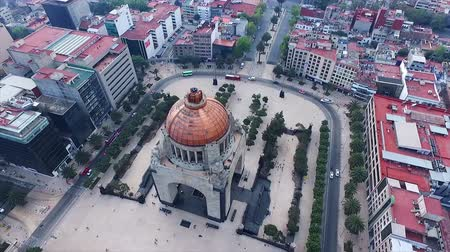 Stunning aerial shot of the Mexican Revolution monument in Mexico City. Some buildings at background. This tourist atraction is one of the most famous and representative mexican historic monuments.