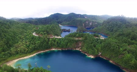 forest preservation : Chiapas, Mexico (DRONE VIEW). Stunning panoramic view of Cinco Lagos lagoons in the national park Montebello Lagoons. This place is one of the most beautiful attractive touristic in Chiapas. TAKE 2