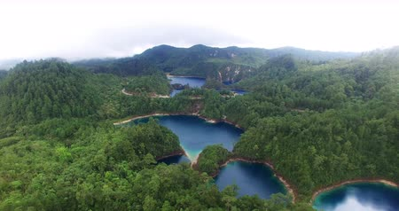 forest preservation : Chiapas, Mexico (DRONE VIEW). Stunning panoramic view of Cinco Lagos lagoons in the national park Montebello Lagoons. This place is one of the most beautiful attractive touristic in Chiapas. TAKE 3