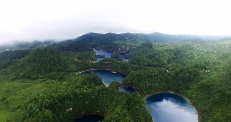 Chiapas, Mexico (DRONE VIEW). Stunning panoramic view of Cinco Lagos lagoons in the national park Montebello Lagoons. This place is one of the most beautiful attractive touristic in Chiapas. TAKE 4