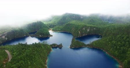 forest preservation : Chiapas, Mexico (DRONE VIEW). Stunning panoramic view of Cinco Lagos lagoons in the national park Montebello Lagoons. This place is one of the most beautiful attractive touristic in Chiapas. TAKE 8