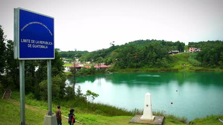 forest preservation : Chiapas, Mexico: International Lagoon, point of international limit between Mexico and Guatemala, a blue sign shown the limit. This place is one of the most beautiful attractive touristic. TAKE 1