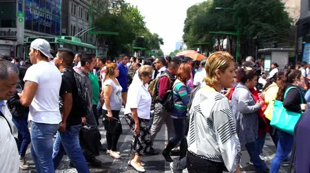Mexico City, CIRCA June 2018 SLOW MOTION-TAKE 1: Crowd walking through street. In Mexico the population growing is a public problem due the high birth rates. Stock mozgókép