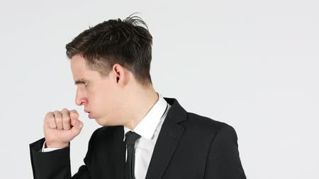 седые волосы : Cough, Businessman Coughing, White Background