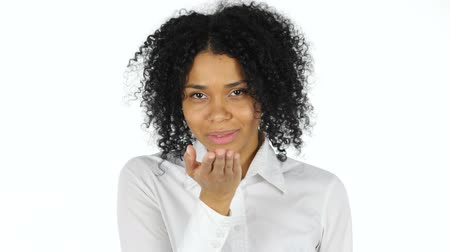 czarne : Praying Black Woman on White Background Wideo