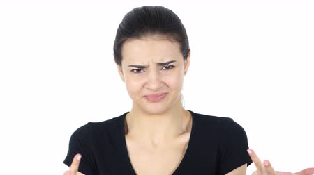 insan parmak : Angry Woman, White Background Stok Video