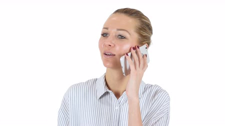 mluvení : Businesswoman Talking on Phone, White Background