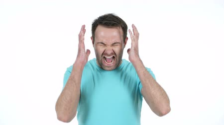 взрывной : Screaming Middle Aged Man, White Background