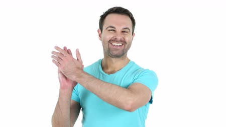 izgatott : Clapping Middle Aged Man, White Background