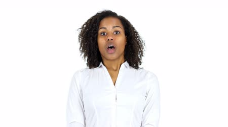 woman working : Upset Black Woman in Shock, White Background