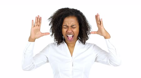 hüsran : Screaming Black Woman, white Background Stok Video