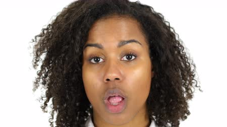 otřes : Black Woman in Shock, Face Close Up, white Background