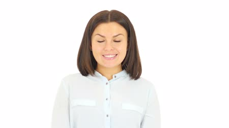 sallamak : Woman Shaking Head to Get Agree, White Background