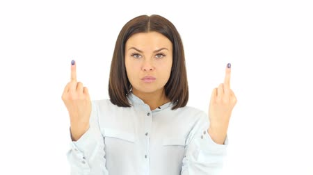 insan parmak : Angry Woman Showing Middle Finger Stok Video