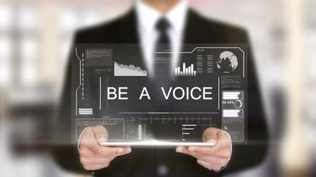 speach : Be a Voice, Hologram Futuristic Interface, Augmented Virtual Reality Stock Footage