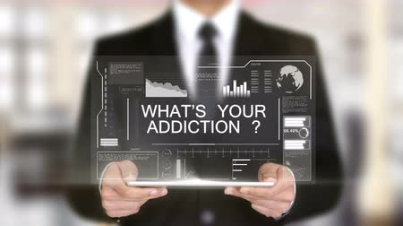 addiction recovery : Whats your Addiction ?, Hologram Futuristic Interface, Augmented Virtual Reality Stock Footage