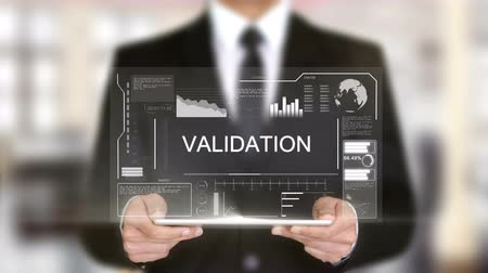 auditing : Validation, Hologram Futuristic Interface, Augmented Virtual Reality Stock Footage