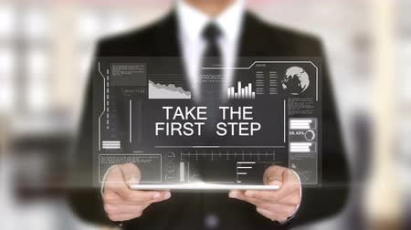 idiom : Take the First Step, Hologram Futuristic Interface, Augmented Virtual Reality