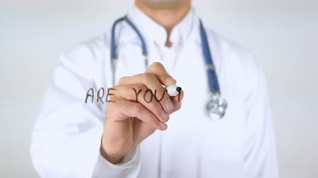 szkic : Are You Feeling Unwell? , Doctor Writing on Glass