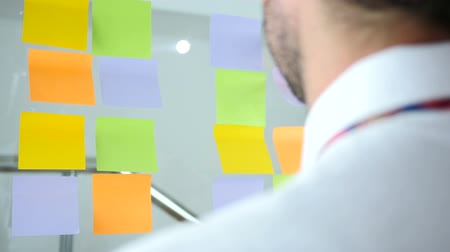 yapışkan : Man Working On Sticky Notes Attached on Glass in Office, Back View