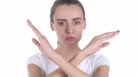 sallamak : Portrait of Middle Aged Woman Gesturing Rejection, Refusal Stok Video