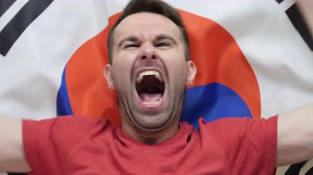 jogador de futebol : South Korean Fan celebrations holding the flag of South Korea in Slow Motion Stock Footage