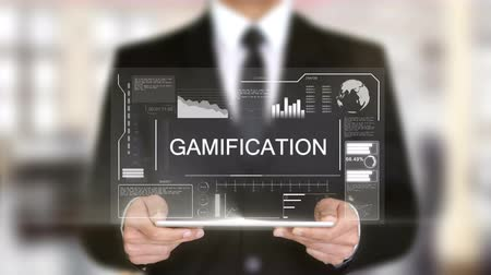 yapıcı : Gamification, Businessman with Hologram concept Stok Video