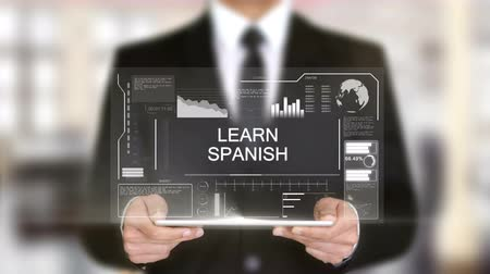 ценный : Learn Spanish, Businessman with Hologram concept