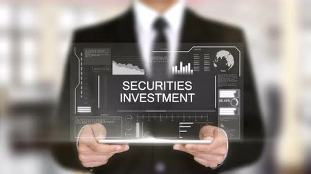 貴重な : Securities Investment, Businessman with Hologram concept 動画素材