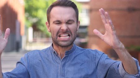 tense : Shouting, Screaming Casual Man in Anger Stock Footage