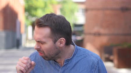 coughing : Cough, Portrait of Sick Casual Man Coughing at Work Stock Footage