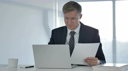 подпись : Businessman Working on Documents and Laptop