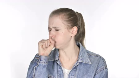kaszel : Portrait of Casual Young Woman Coughing, Throat infection