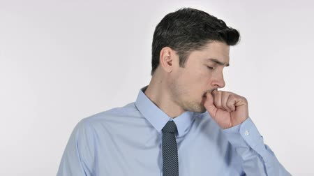 симптом : Sick Young Businessman Coughing, Cough